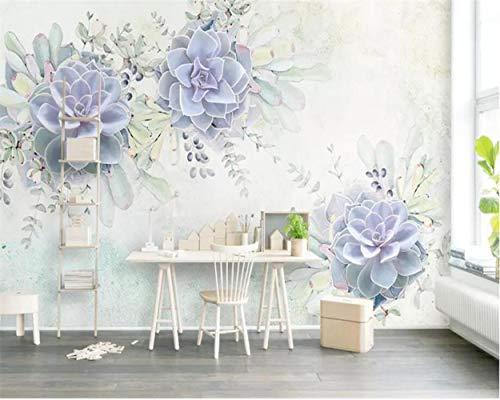 MAZF Wallpaper Light Purple Fresh Watercolor 3D Plant Flower Living Room Bedroom Backdrop Murals 3D Wallpaper Tapeta