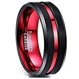 NUNCAD Mens Red and Black Ring Mens's Red Plated Tungsten Wedding Band Black Brushed Finish Grooved Comfort Fit Size 11