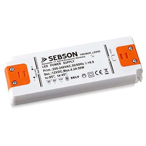 SEBSON 50W LED Treiber/LED Trafo 160x58x18mm - 12V Konstante Ausgangsspannung, Transformator, Netzteil für LED Lampen G4, MR11, GU5.3, MR16