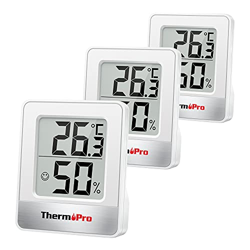 ThermoPro TP49W-3 digitales Mini Thermo-Hygrometer Thermometer Raumthermometer 3 er innen Temperatur und Luftfeuchtigkeitmessgerät mit Smiley-Indikator