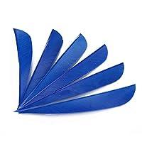 """ACCMOS 50個 5.5 cm 3""""4""""5"""" アーチェリーアローフェザー、ナチュラル 七面鳥の羽、ドロップ型カラフルな羽、弓と矢付属品 にとって 狩 ショトそして DIY アロー (4"""" blue 2)"""