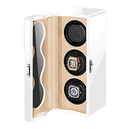 XIUWOUG Watch Winder - Caja giratoria para 3 relojes automáticos, cojín suave y flexible, pintura de piano exterior, 4 modos de rotación, fuente de alimentación doble (color: blanco)
