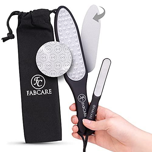 FABCARE Laser Hornhautraspel Set (5-teilig) - Neue verbesserte Version - Austauschbare Raspelfläche - Hornhautentferner inkl. Mini Fußfeile - Fußpflege Set zur Hornhaut Entfernung - Hornhautfeile
