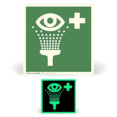 Betriebsausstattung24® Erste-Hilfe-Schild Rettungszeichen Augenspüleinrichtung ASR A1.3 ISO 7010 E011 langnachleuchtend DIN 67510 Klasse C (Folie, 15 x 15 cm)
