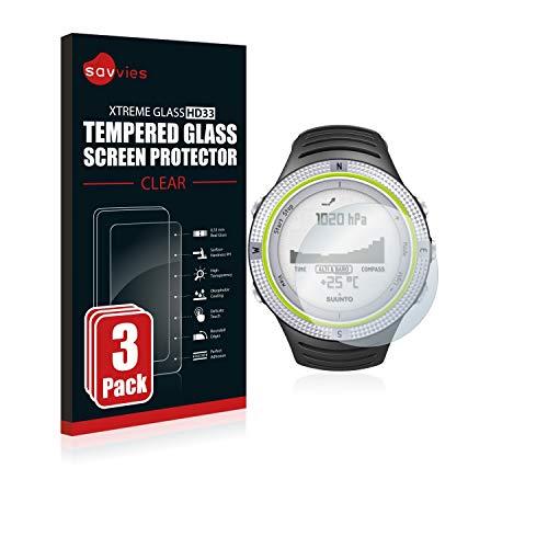 savvies Pellicola Vetro Temperato Compatibile con Suunto Core Light Green (3 Pezzi) Protezione Protettivo Schermo Glass Durezza 9H