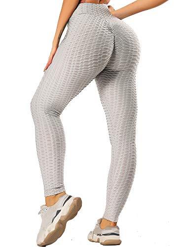 INSTINNCT Damen Slim Fit Hohe Taille Sportshort Lange Leggings mit Bauchkontrolle Grau L