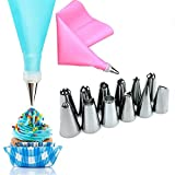 Cake Decorating Equipment 14 Pieces Icing Decoration Kit Piping Nozzle + Silicone Pastry Bags Tool Piping Cream Stainless Steel Nozzles Decorator Pastry Cream Making Set for Dessert Cupcakes Koksi