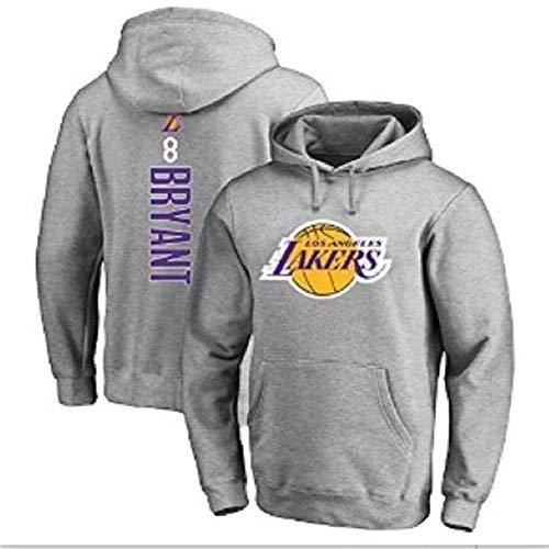 Lakers Bryant # 8 Men's Baloncesto Pullover, Sweatshirt Sweatshirt Pullover, Transpirable Comfortable Pullover (S-3XL) Grey-XXXL