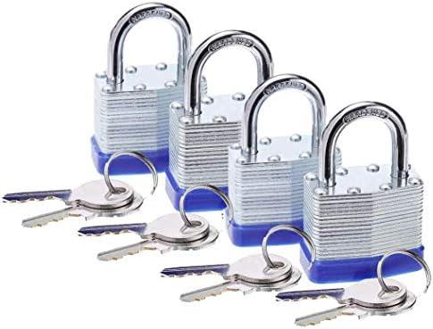 LEONES Laminated Steel Padlock 1 9 16 inch 40mm with Hardened Short Shackle 2 Steel Keys 4packs product image