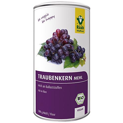 Raab Vitalfood Bio Traubenkernmehl 300 g, OPC, reich an Ballaststoffen, vegan, glutenfrei, laborgeprüft in Deutschland, Traubenmehl, 300 g Dose