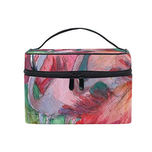 Trousse de maquillage Flamingo Art Pink Cosmetic Bag Portable Grand Trousse de toilette pour femmes/filles Travel