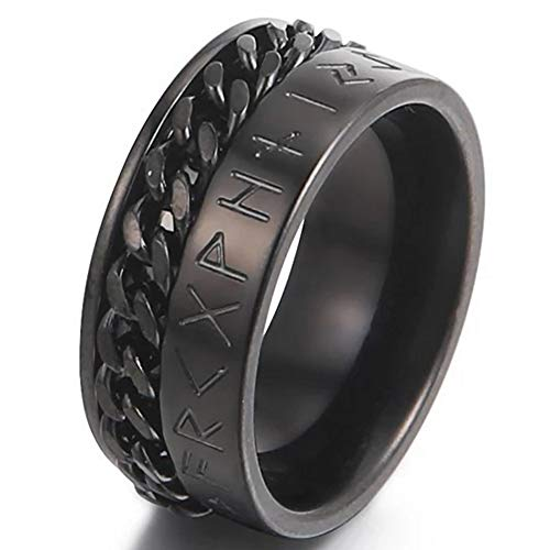 Black Viking Rune Chain Spinner Ring Mens Womens Stainless Steel Celtic Anti-Anxiety Band Sizes 8-12 (12)