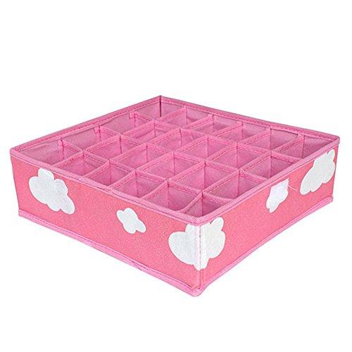 Innerset Caja de almacenamiento plegable con patrón de cuadrícula, 3 en 1, caja de almacenamiento para ropa interior, caja organizadora sin funda, color rosa