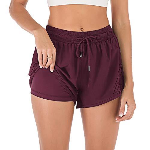 iClosam Pantalones Deportivo Corto Mujer, Pantalones Tejido Secado Rápido Pantalón Cintura Elástica...