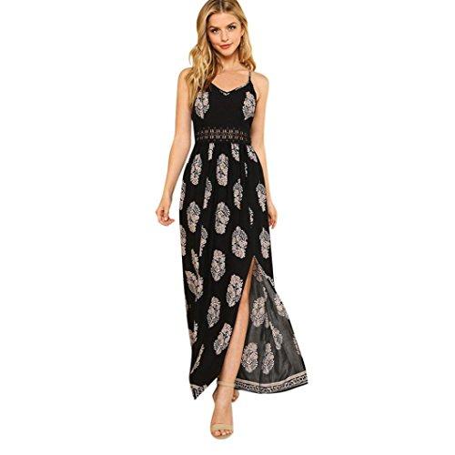 Toamen Longue Robe Boho Hollow Robe de Plage Robe Coutures creuses Bretelles en plumes Robe fendue Femmes (XL, Noir)