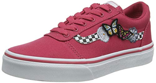 Vans Mädchen Ward Canvas Sportschuhe, Pink ((Butterflies) Claret red/White WG4), 32 EU