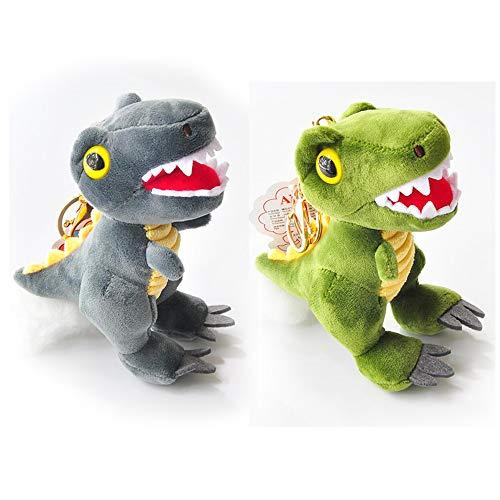 Mirrwin Cartoon Dinosaurier Plüschtiere Schlüsselanhänger Dinosaurier Schlüsselbund Plüschtiere Dinosaurier Puppe schlüsselbund plüsc Grau und GrünAuf dem Schlüsselbund Brieftasche Rucksack 2 Stück