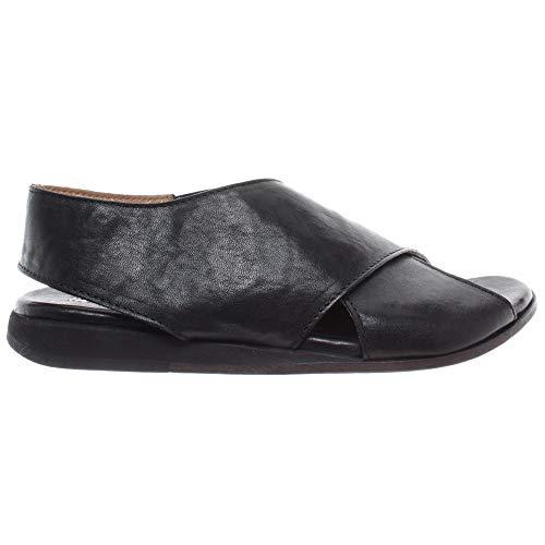 MOMA Damen Schuhe Sandal 36901-8A Lubrix Nero Leder Schwarz Vintage Made Italy