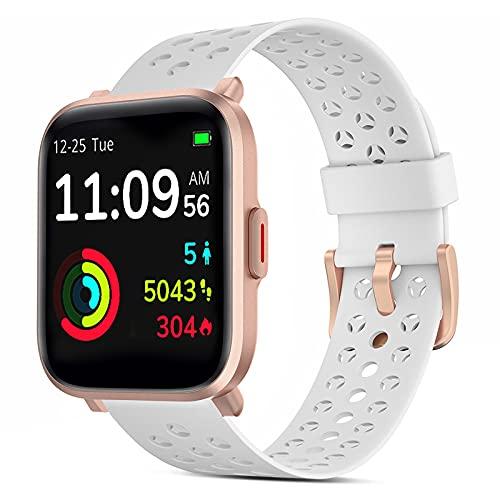 Smartwatch, 1,3 Zoll Fitness Armbanduhr mit 18 Sportmodi Personalisiertem Bildschirm, Herzfrequenz, Schrittzähler Musiksteuerung, 5ATM Wasserdicht Fitness Tracker Uhr, für iOS und Android