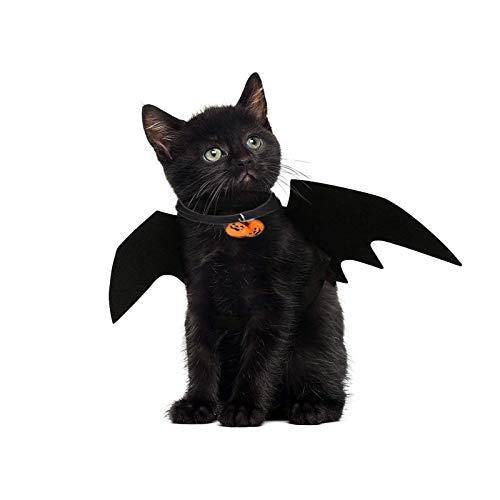JIASHA Alas de murciélago para mascotamascota de Halloween Disfraz de murciélago Negro para Gato decoración para Mascota Gato Perro Accesorios de Disfraces de Halloween
