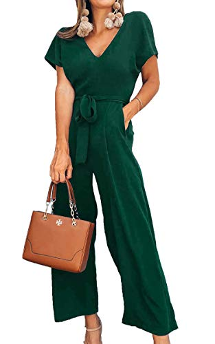 ECOWISH Women V Neck Short Sleeves Tie Waist Jumpsuits Long Wide Pants Casual Jumpsuit with Pockets Green Medium