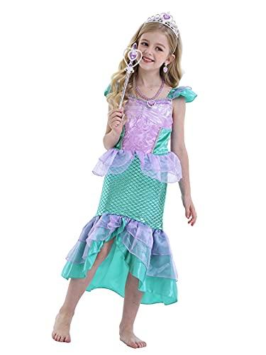 Jurebecia Disfraz Princesa Niñas Princesa Vestidos Sirenita con Accesorio Fiesta de Cumpleaños Halloween 7-8 Años Azul
