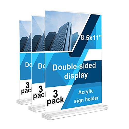 REALWAY 3Pack 8.5'x11' Table Top Acrylic Menu Sign Holders, Double Sided Plastic Paper Display Stand, Bottom Load Portrait Style Clear Ads Frame for Office, Restaurant, Hotel,Store,Transparent Base