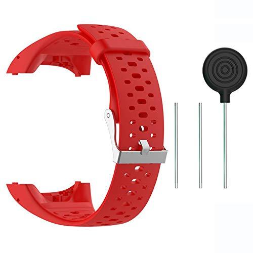 Saisiyiky Accesorio Reemplazo de Liberación Rápida Banda de Reloj de Silicona Suave Pulsera de Correa Deportiva para M400 / M430 GPS Reloj smartwatch(Rojo)