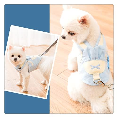 Simpatico pettorina per cani, guinzaglio per cuccioli, pomerania, barboncino e corgi, colore: blu macaron
