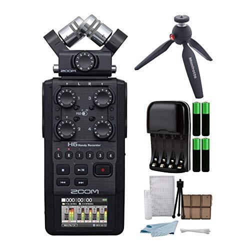 Zoom H6 Ultra-Portable Digital Audio Recorder w/Manfrotto Pixi Tripod (Black)