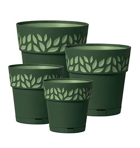 Kreher 4 Stück Pflanztöpfe CLOE Hochwertiges 3D-Design in leicht Matter Ausführung mit integrierten Wasserspeicher. Mit 4 verschiedenen Durchmesser (Grün)