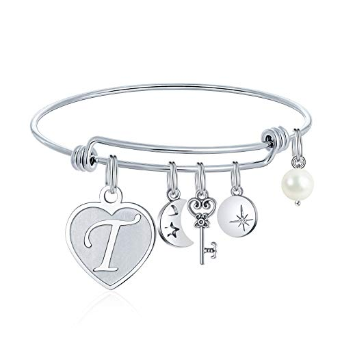 Bracelets for Teen Girls Gifts - T Initial Charm Bracelets Stainless Steel Heart Moon Charm 26 Letters Alphabet Bracelet Jewelry Christmas Valentines Birthday Gifts for Adult Women Teen Girls