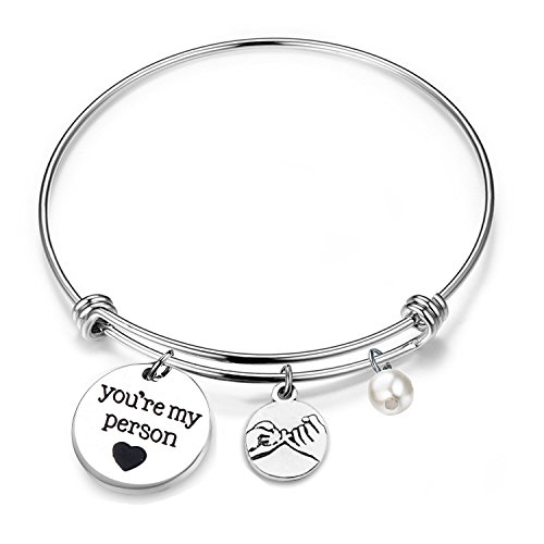 LQRI Grey's Anatomy You Are My Person Best Friend Gift Expandable Charm Bangle Bracelet(You Are My Person bracelet)