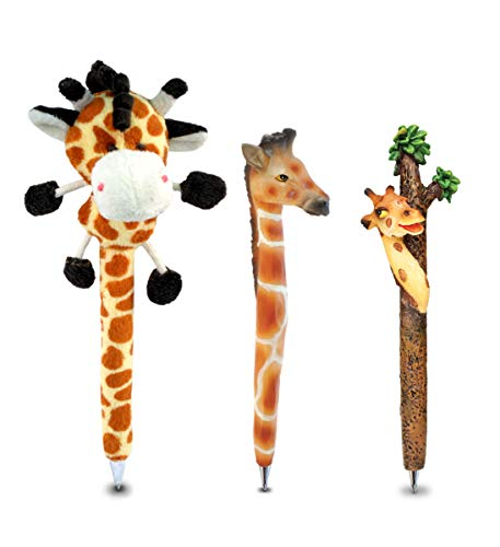 Puzzled Giraffe Writing Pen Bundle Set of 3 - Plush Pen & Resin Pens, Unique Office Supplies Ballpoint Pens Colorful Wildlife Writing Pens Instrument For Cool Stationery School & Office Decor - 3 Pack