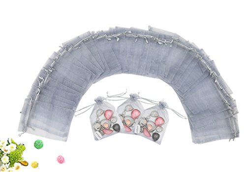 "Wuligirl 100 PCS Gray Organza Gift Bags with Drawstring Party Wedding Favor Gift Bags Candy Jewelry Bags (100pcs Gray, 4x6"")"