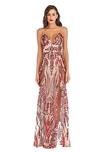 dadoudou 2020 europäisches und amerikanisches Außenhandel neues Kleid Ebay AliExpress sexy V-Ausschnitt Riemen Pailletten Split Kleid (rot,S)