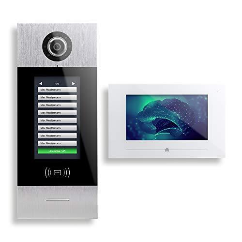 SMART7 AVS7708 - Videoportero automático (2 cables, 8 casas, pantalla táctil de 7')