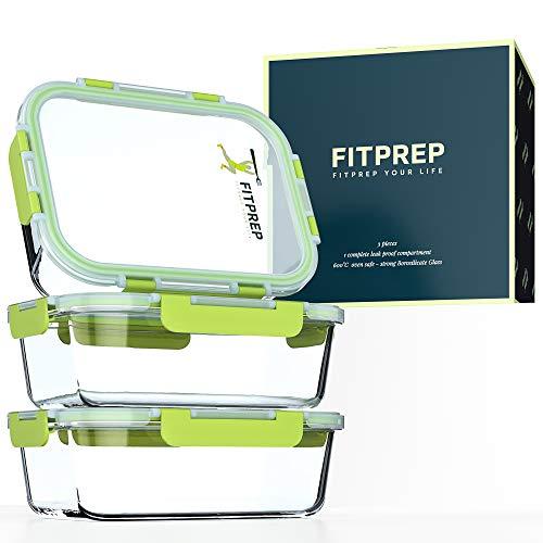 FITPREP® Frischhaltedosen aus Glas 6 teiliges Set [3 Vorratsdosen + 3 Deckel mit 880ml ] Premium Glasbehälter mit Lifetime Lasting Deckel - perfekte Größe für Meal Prep
