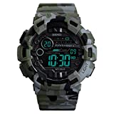IJAHWRS Men's Digital Sports Watch LED Screen Military Style Watch, Outdoor Waterproof with Backlight Watches for Men (Camouflage Army Green)