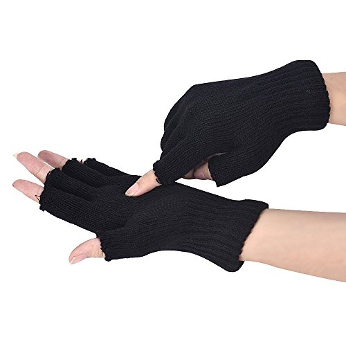 Allywit Unisex Fingerless Finger Touchscreen Gloves Winter Stretchy Knit Fingerless Gloves (Black)