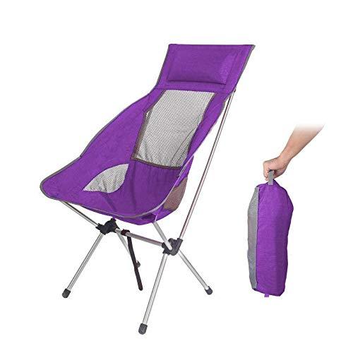 Subobo - Sedia pieghevole pieghevole da campeggio con cuscino, ultraleggera, per pesca, picnic, carico massimo 180 kg, regolabile (dimensioni: taglia unica, colore: viola)