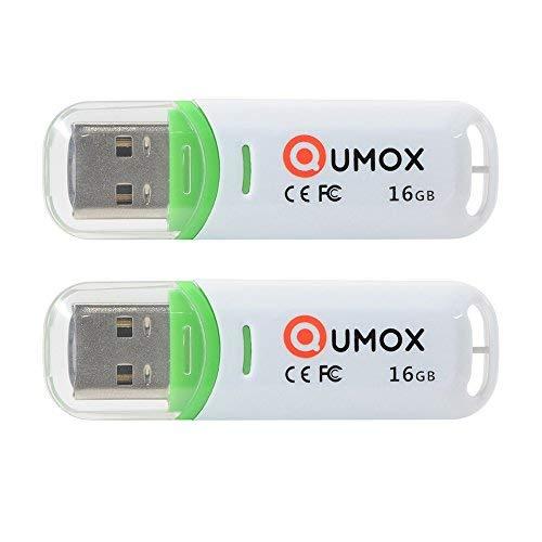 QUMOX 2X 16GB 16GB Pen Drive USB 2.0 Flash Stick Verde/Bianco