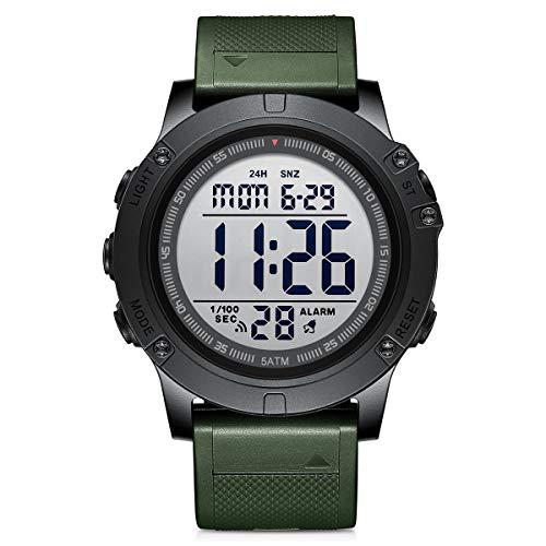 GOLDEN HOUR Orologio sportivo digitale da uomo impermeabile stile tattico militare con retroilluminazione a LED cinturino in gomma grande quadrante orologio per gli uomini