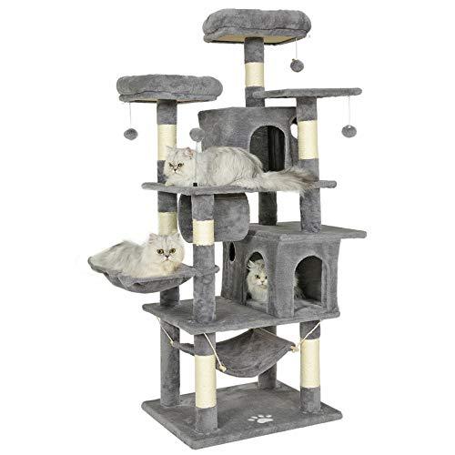 MSmask Kratzbaum groß, 164cm Kratzbaum für Gross Katzen, große Bodenplatte, kratzbaum Grosse Katzen stabil mit Sisal-Kratzstangen Höhlen, Hängematte, Plüschball (Grau)