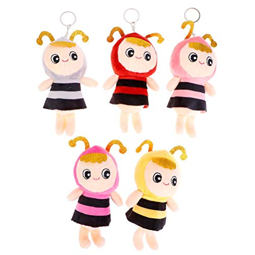 Poluka 5Pcs Bee Plush Toys Keychains 12CM/4.7' Cute Soft Stuffed Animal Toy Doll Bee Pendant Plush Ornament Keyring for Kids Bag Backpack Decor Party Gift Supplies