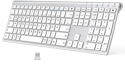 Bluetooth Tastatur - Kabellose Tastatur Wieder aufladbare, Bluetooth+Bluetooth + 2,4 G 3 Kanäle Tastatur, ultraflache Dual-Mode-Tastatur in voller Größe für Mac, iPhone, Windows, Android, iOS, weiß