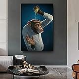 Impresión de arte Pinturas de lienzo de mono divertidas modernas en la pared Limón vertido en la cabeza Cuadros de pared Póster e impresión Decoración del hogar Cuadro nórdico Mural Art 50X70cm