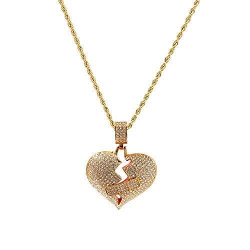 NCDFH Design Hip Hop Ice Out Bandage Broken Heart Pendants Necklace for Men Rapper Jewelry Gold Color B 24inch 60cm