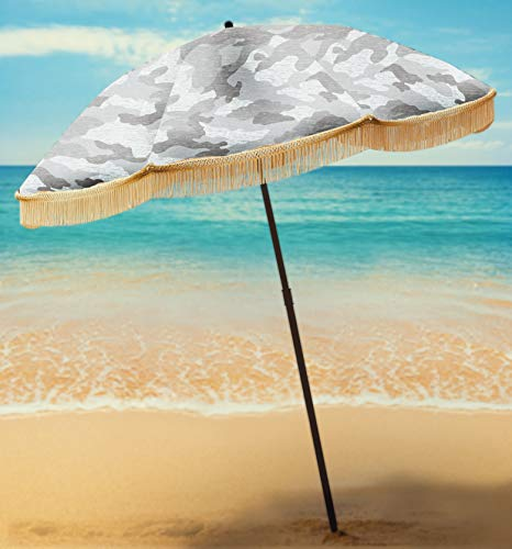 Beach Umbrella For Sand - Best Beach Umbrella Windproof & Portable Sport Umbrella With Fringe, Comes With Denim Beach Umbrella Bag Features Pointed Bottom Sand Anchor & 100% UV Sun Protection - Bahama