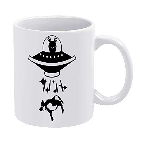 N\A Tazas de café Blanco de 11 onzas, Taza de Chocolate de cerámica de Alien Negro en platillo para Mujer, Jefe, Amigo, Empleado o cónyuge
